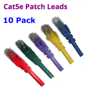 CAT5e Blue Green Purple Yellow Red patch leads 10 Pack